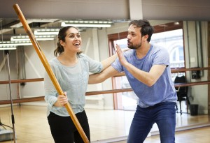 REHEARSALS Emily Lloyd-Saini as Shiv and Andrew Joshi as Bapu in Shiv - Photography (c) Pamela Raith Photography